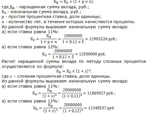 Расчет первоначальной суммы